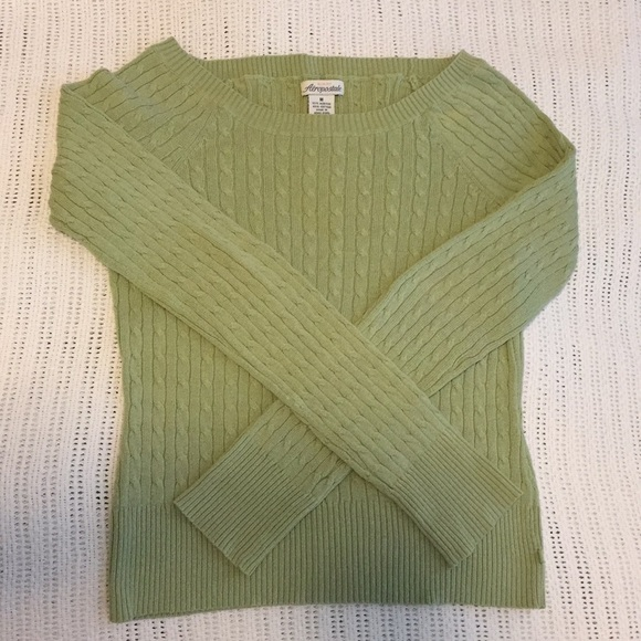 Aeropostale Sweaters - Light green cable knit Aeropostale sweater
